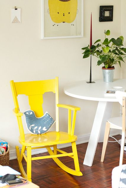 Yellow | Rocking chairs, Interiors and Room