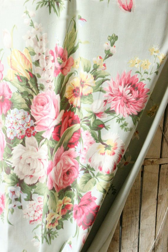 1930s english cabbage rose floral vintage mint green heavy canvas