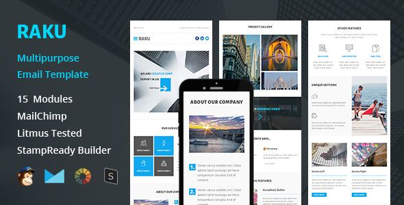 RAKU - Multipurpose Responsive Email Template + Stampready Builder - email newsletter template