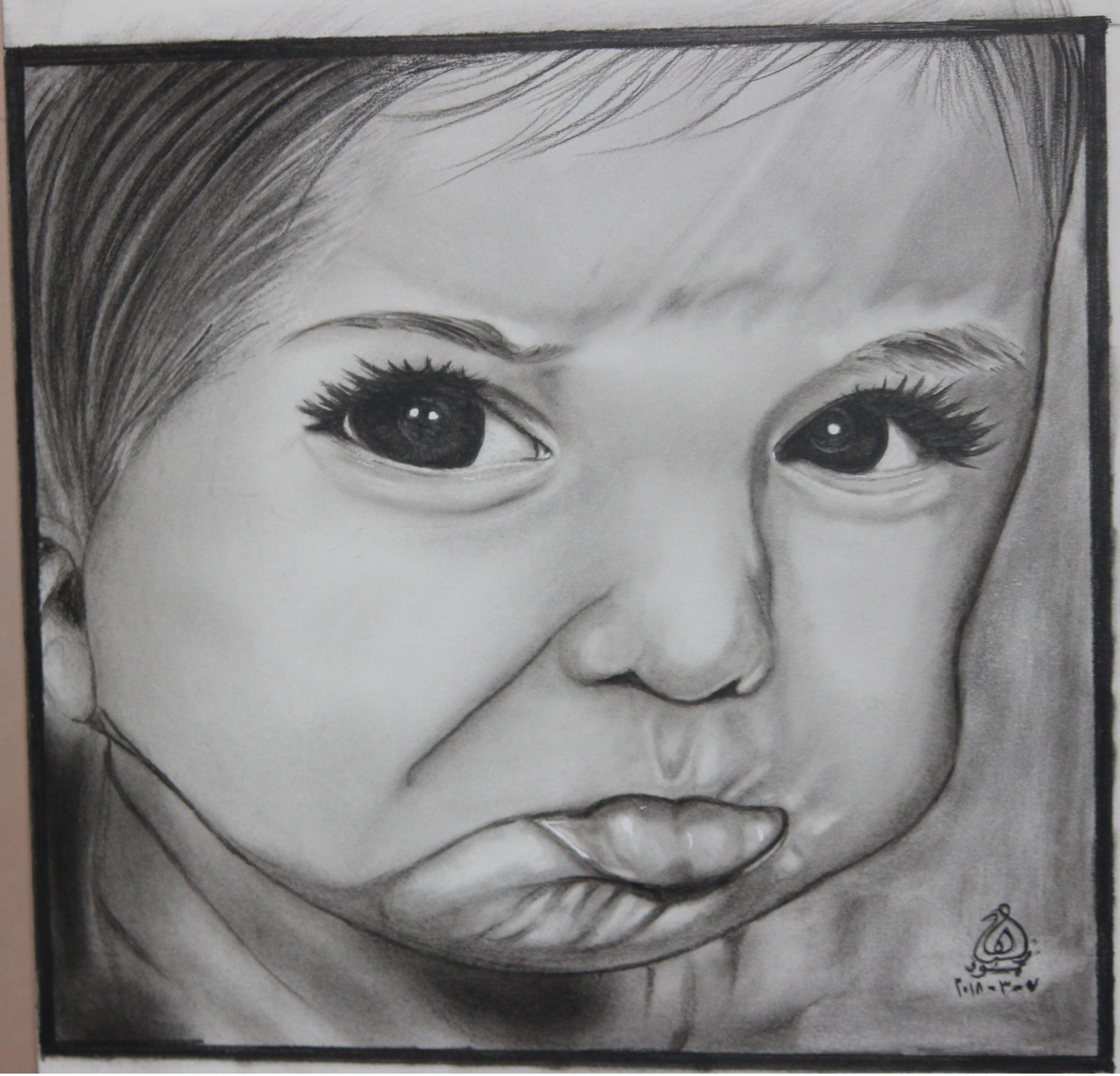 رسم بالرصاص طفل صغير للفنانة هبة محمود رسم رصاص مصر رسم طفل