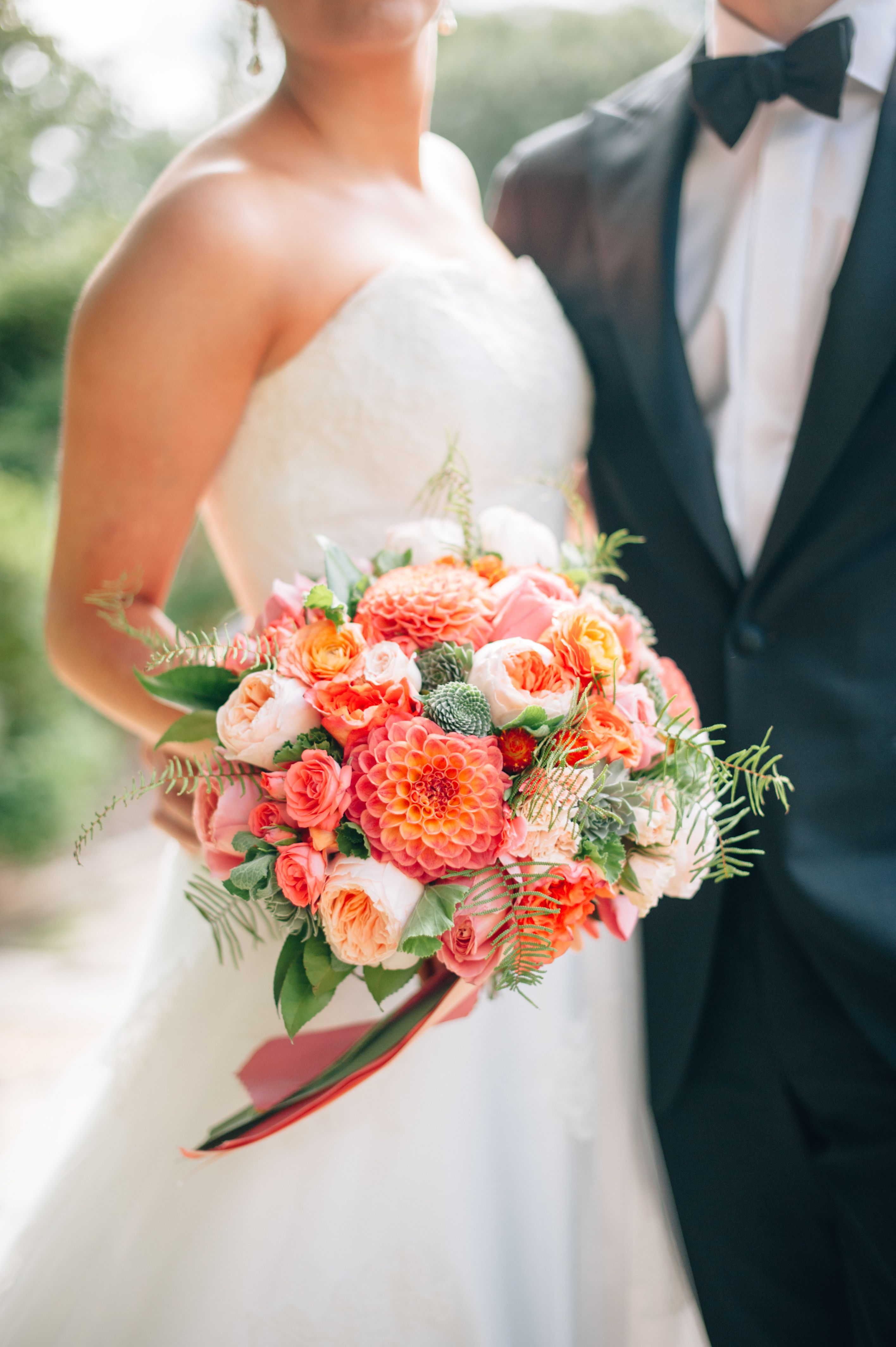 Coral and Pink Bouquet with Dahlias Peonies and Roses  Bouquets in 2019  Wedding Flowers