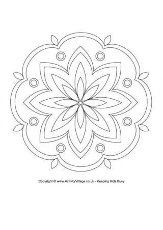Rangoli Colouring Page 4
