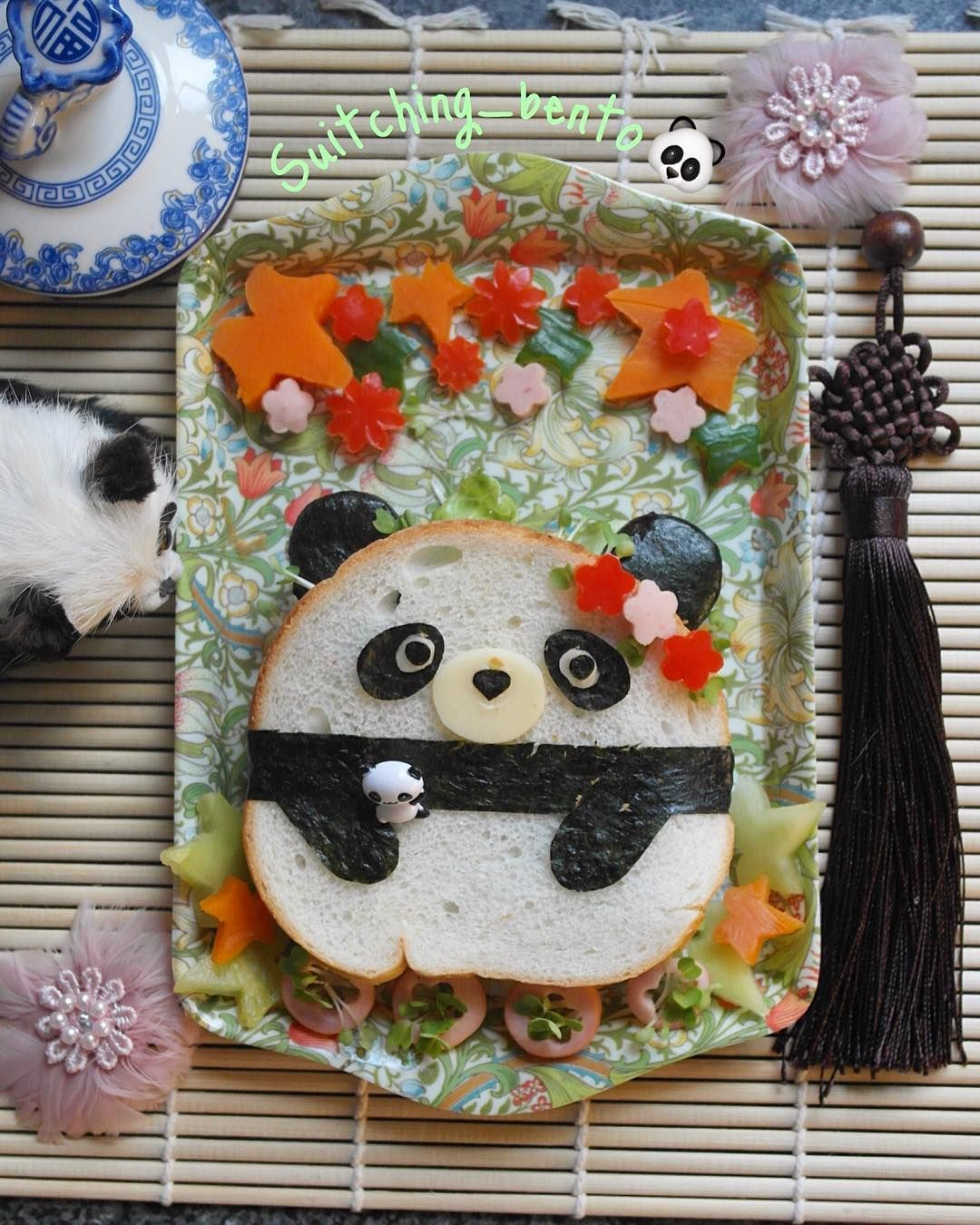 Suit-Ching WH 🇬🇧 (@suitching_bento) on Instagram: Panda sandwich with homemade luncheon meat bento