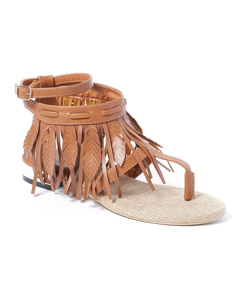 Another great find on #zulily! Jacobies Beverly Hills Camel Lety Fringe T-Strap Sandal by Jacobies Beverly Hills #zulilyfinds