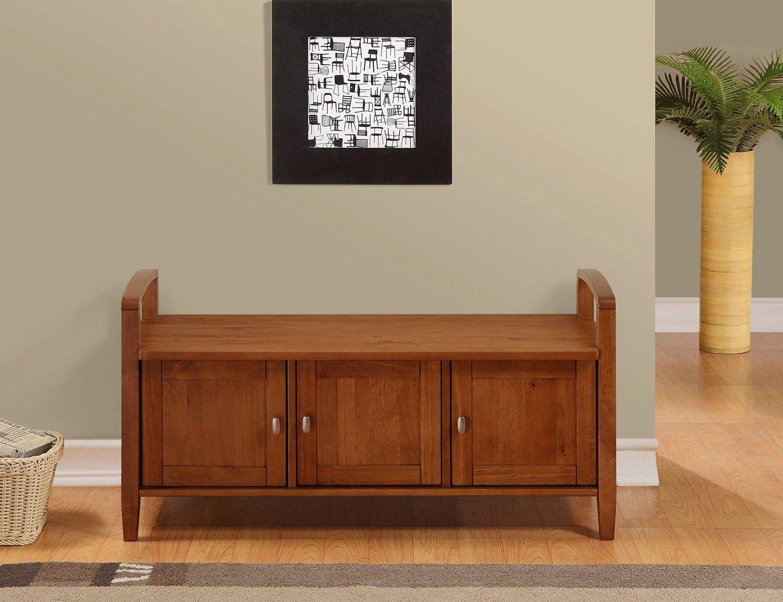 Amazon.com: Simpli Home Warm Shaker Entryway Storage Bench, Honey Brown:  Furniture