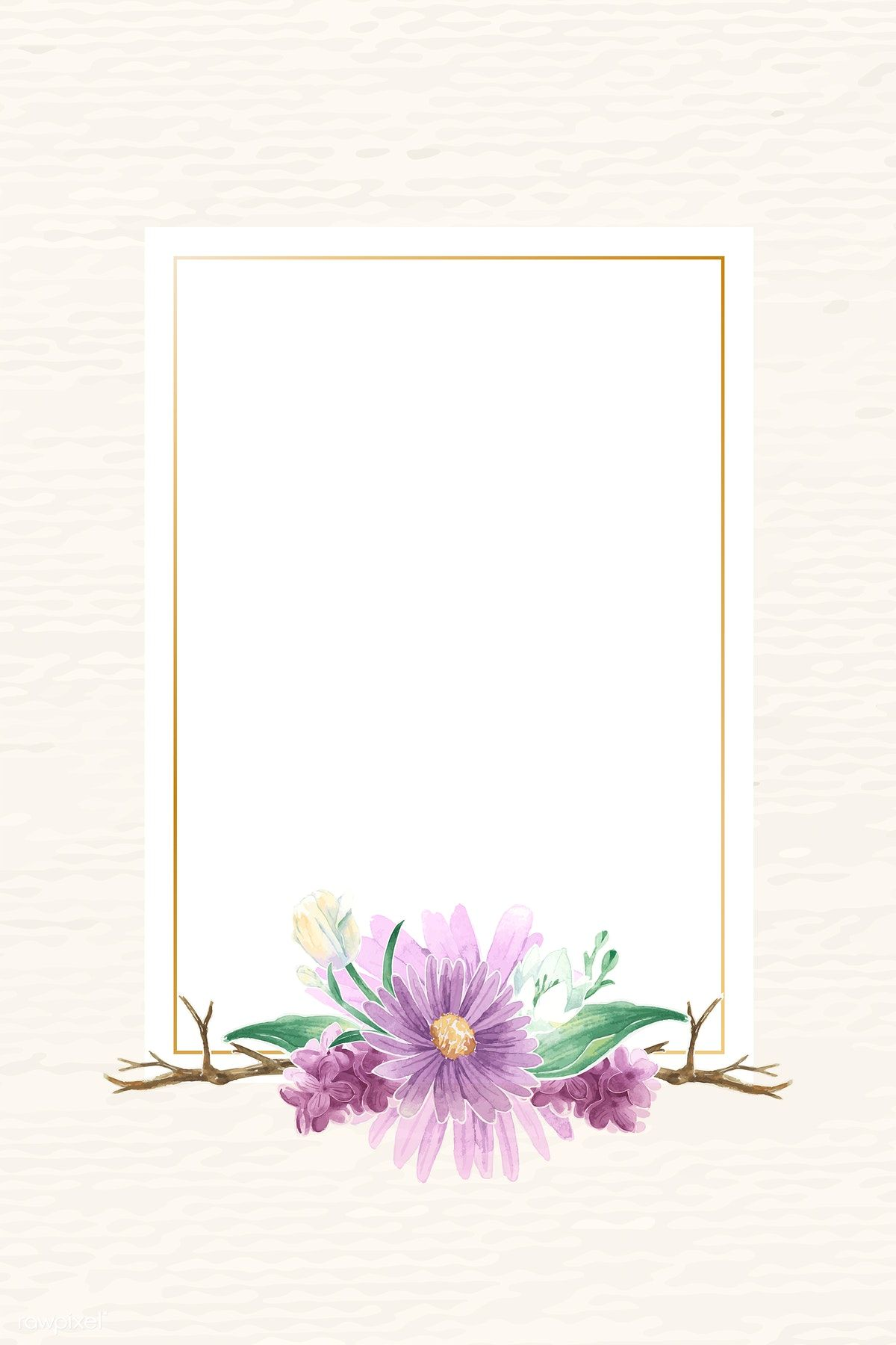 Rectangle gold flower frame vector, 4k iphone and mobile