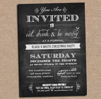 Chalkboard Invitation  Holiday Party  Any Occasion  Design