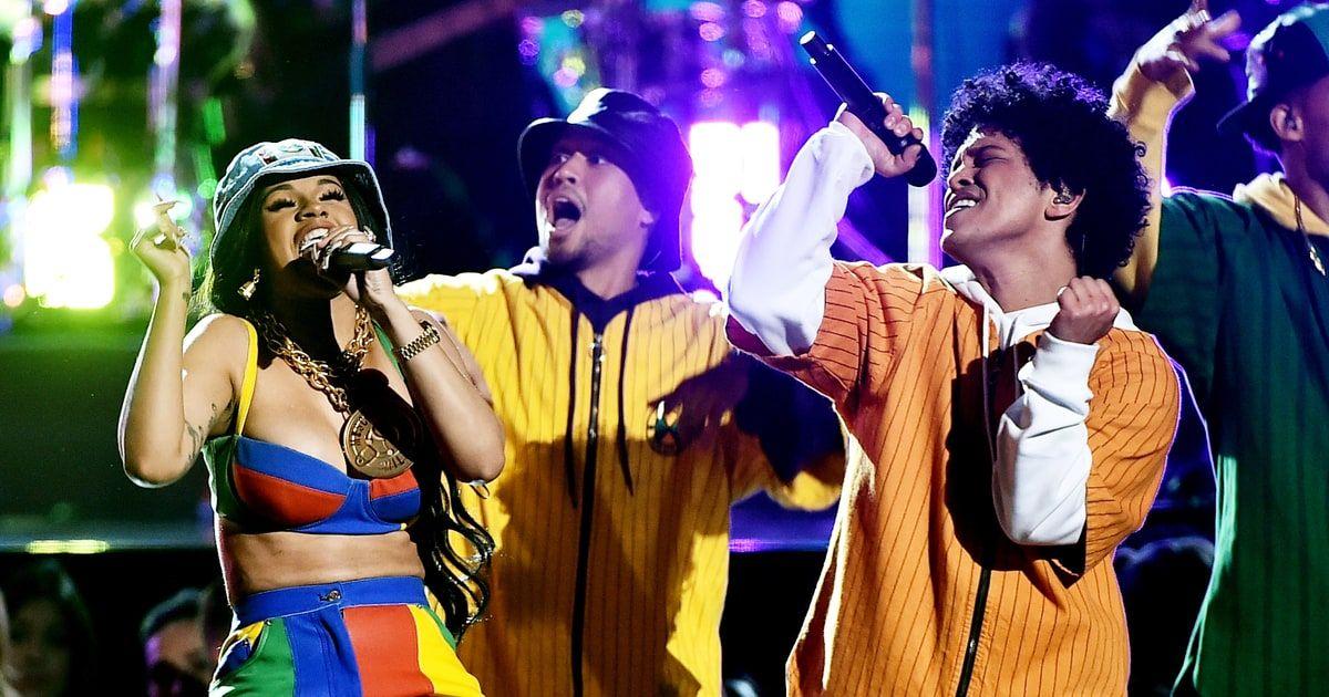 Grammys 2018 Watch Bruno Mars Cardi B S Colorful Finesse Performance Bruno Mars Bruno Mars Grammys Grammy