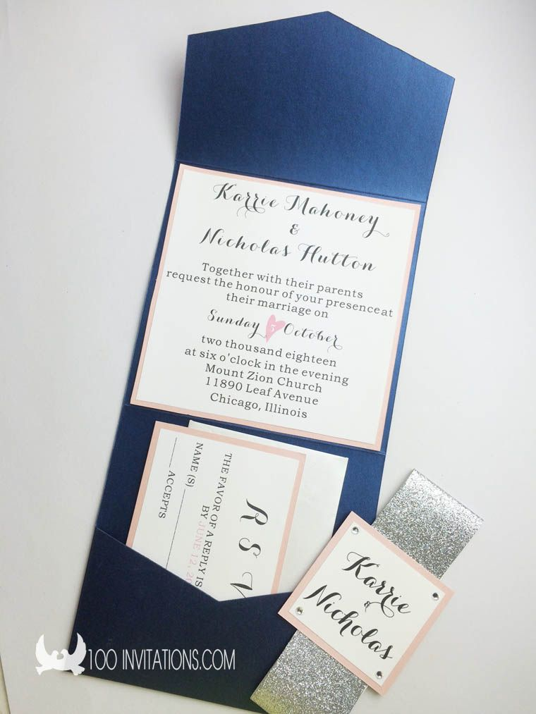Navy Blue Glitter Pocketfold Wedding Invitations