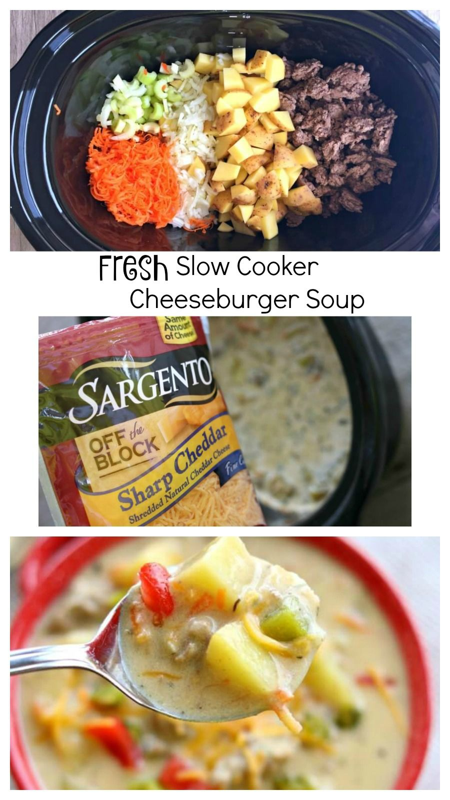 #ad This slow cooker recipe for cheeseburger soup is super simple and it contains cheese fresh off the block (no processed cheese!) Make it for dinner tonight with @SargentoCheese. #RealCheesePeople #IC