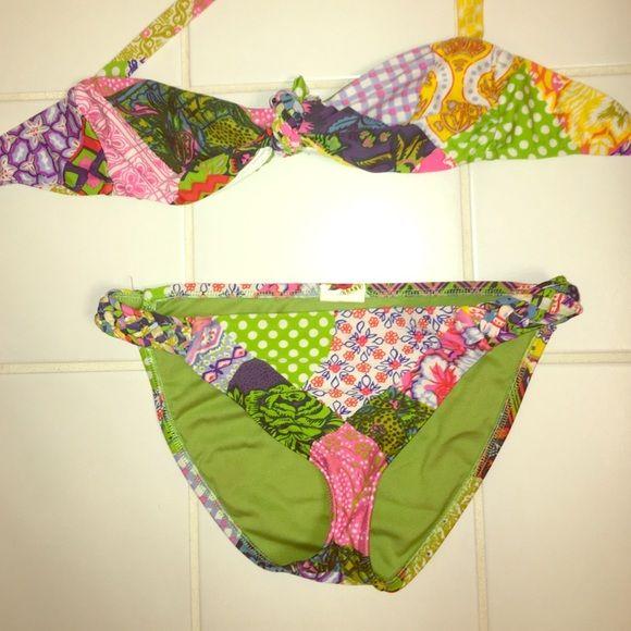 Lucky brand bikini Lucky brand bikini. Cute bandeau top with neck tie and braided detail on bottoms. Lucky Brand Swim Bikinis