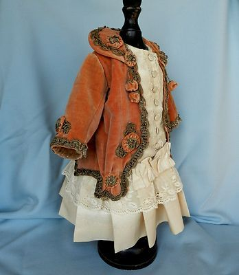 Antique French velvet silk doll dress for Antique French BEBE BRU Kestner doll