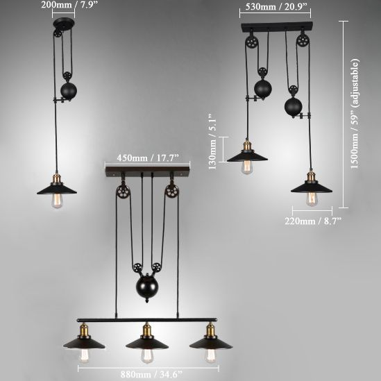 Tray Adjustable Height Pulldown Island Pendant Retro Industrial Ceiling Lights Black Pendant Light Island Pendant Lights