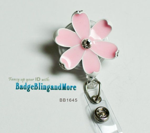 Glaze Painted Light Pink Daisy - (clear)RETRACTABLE /Swivel Reel/Spring Clip - Badge Holder BB1645