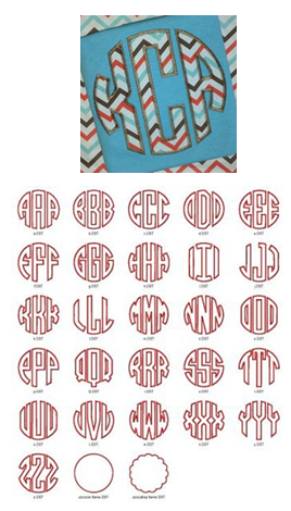 Circle Applique Font—Zig-Zag  Sizes: 3.75in, 5in, 6in, 7in Left, Middle, & Right Letters Circle & Scallop Frame