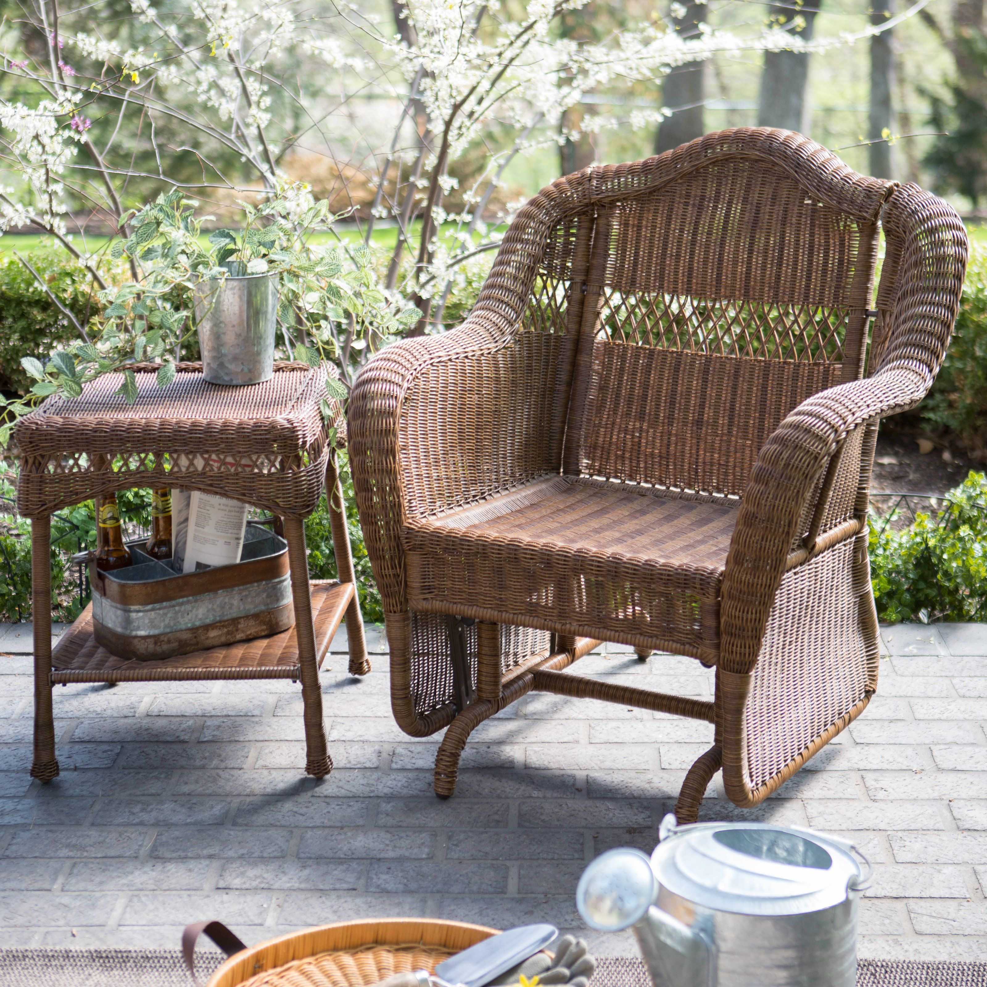 Coral Coast Casco Bay Resin Wicker Outdoor Glider Chair Outdoor Glider Chair Patio Rocking Chairs Glider Chair