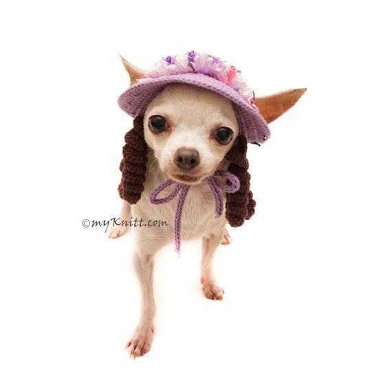 Dog Hat Crochet Curly Dog Wig Funny Dog Costume Dog Photo Etsy In 2021 Dog Costumes Funny Dog Clothes Dog Hat