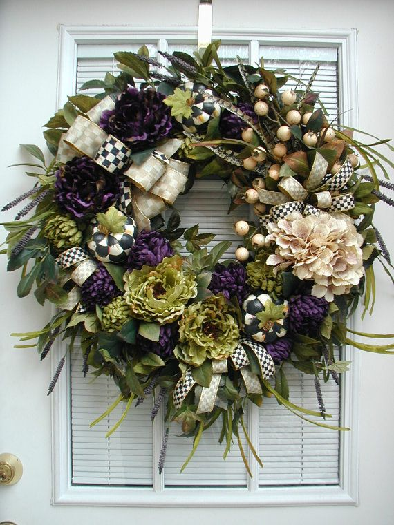 Fall Wreath Large Elegant Autumn Winter All Year Front