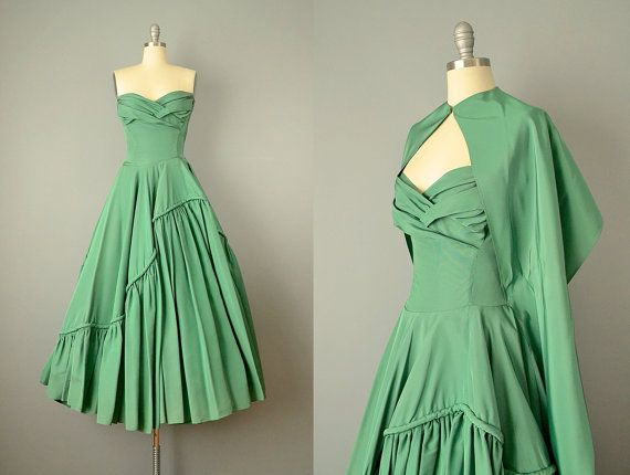 40s Dress // 1940's Emerald Green Silk