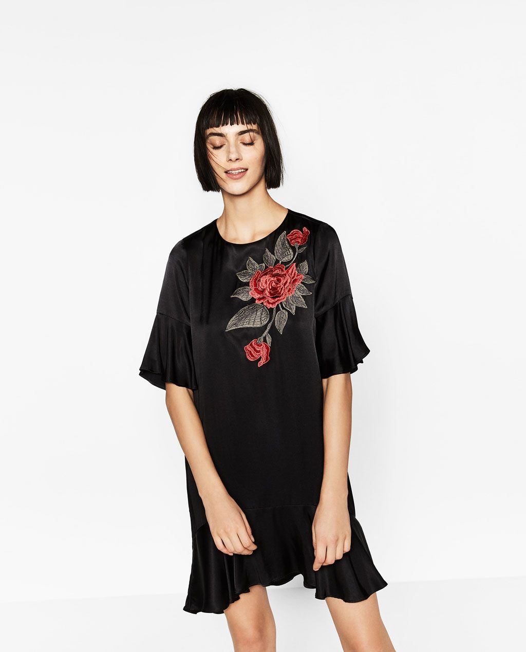 Zara woman frilled dress with floral patch clothes pinterest