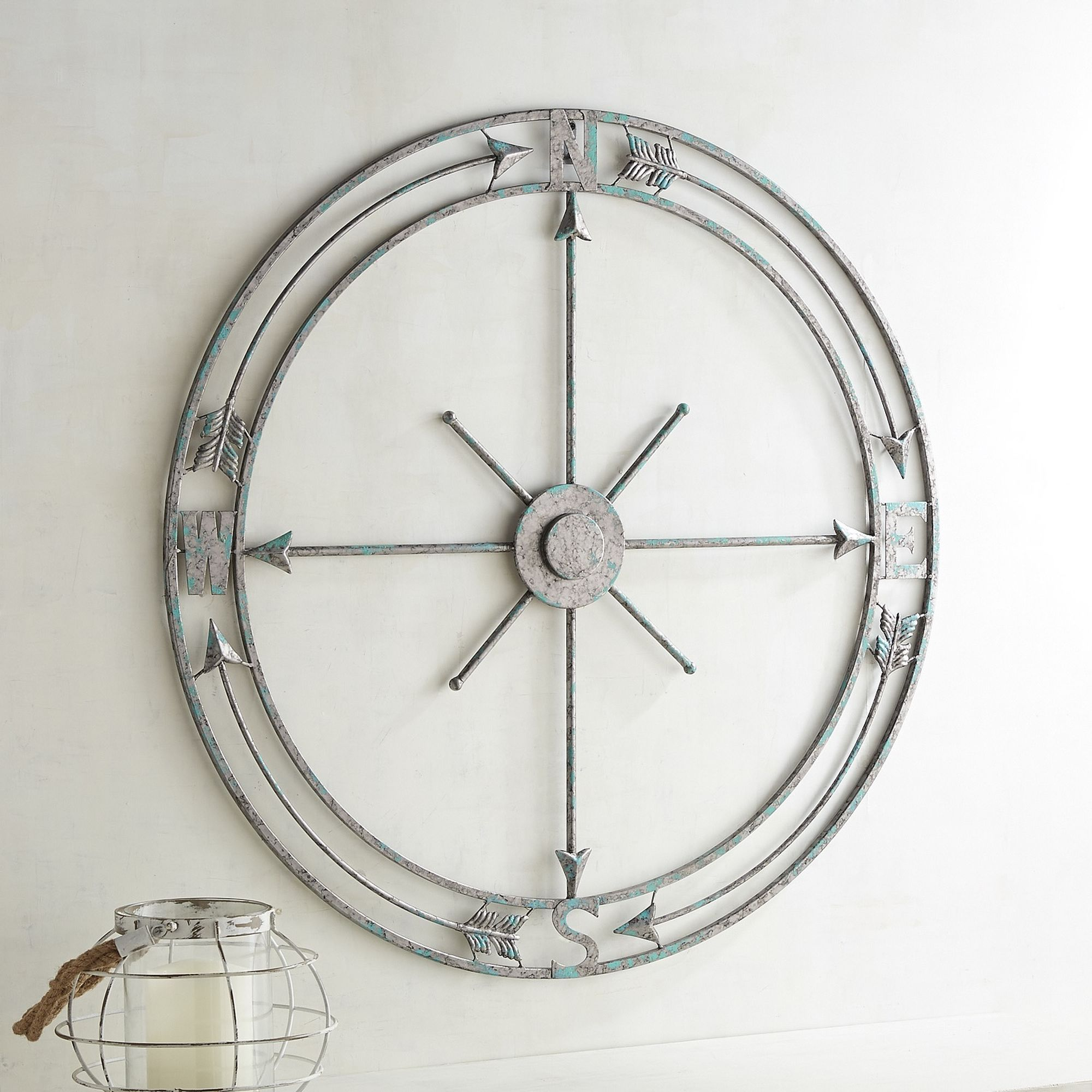 Pier One Outdoor Compass Crafted Of Iron And Painted Blue 52 Compass Wall Decor Mirror Wall Decor Compass Wall Art