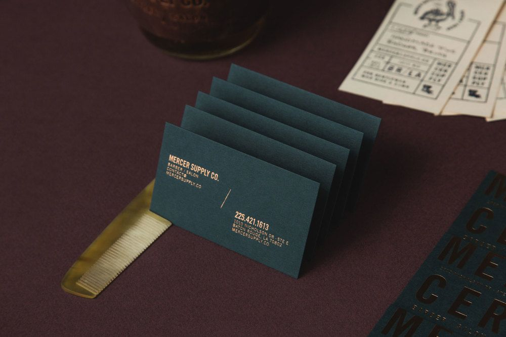 Brand Identity And Copper Block Foiled Business Cards For Baton