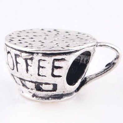 [Sponsored]Sandcastle Charm 925 Sterling Silver Charms Coffee Cup for Bracelets PogRB