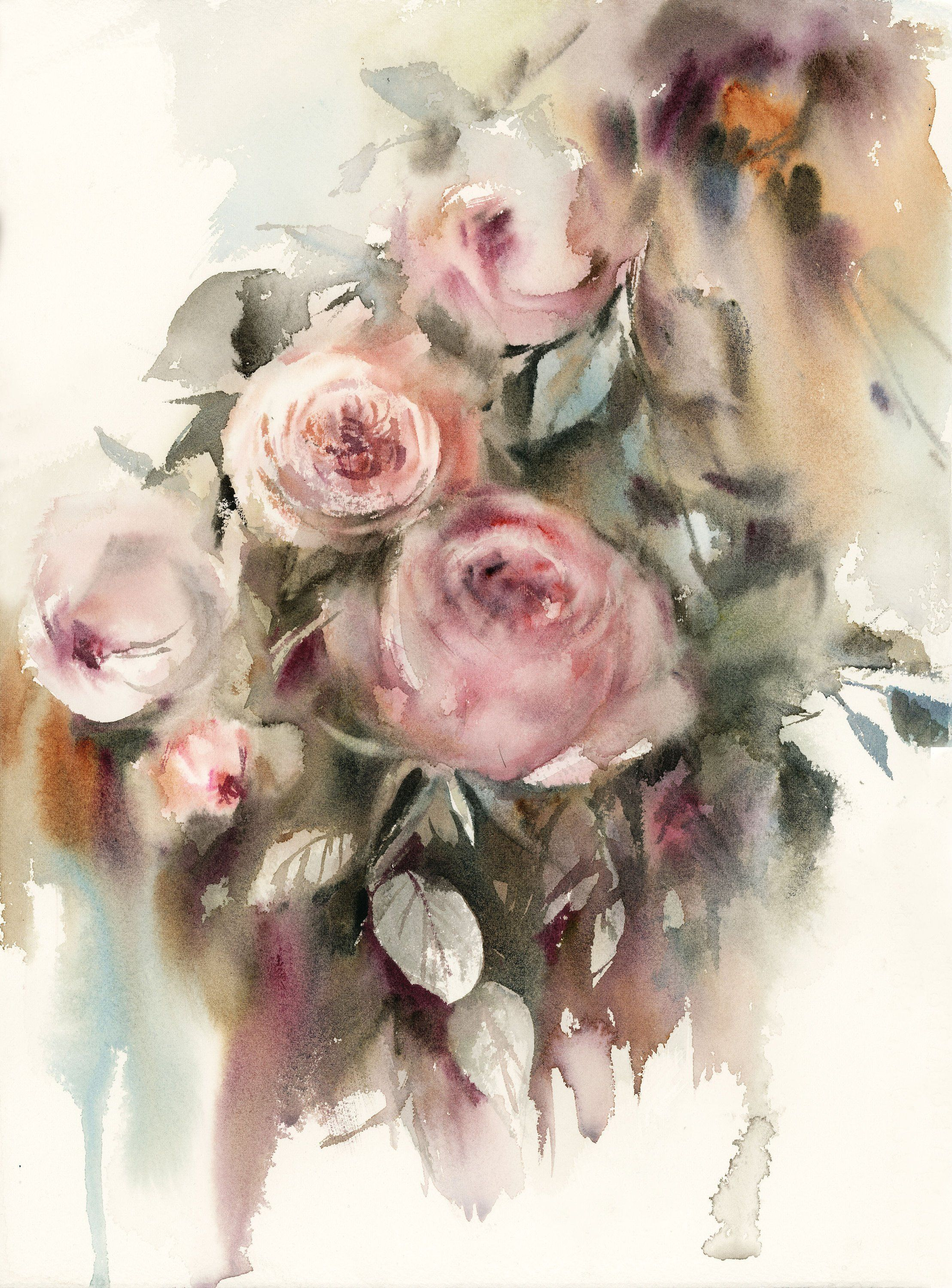 Roses Painting Original Watercolor Painting Of Pink Roses Green