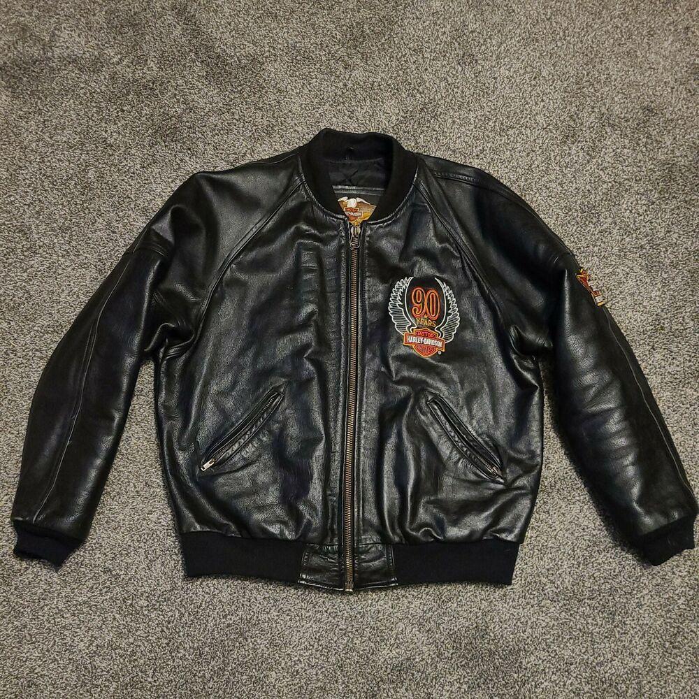 Harley Davidson Motorcycle Mens L Leather Jacket 90 Years Miller Patch Ebay In 2021 Harley Davidson Motorcycle Harley Davidson Harley [ 1000 x 1000 Pixel ]