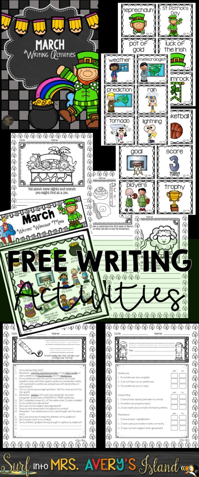Grab this FREE sample of March Writing Prompts and Word Work activities for your literacy center or whole group writing lessons.  Perfect for elementary teachers who are seeking NO PREP, engaging creative writing ideas to integrate in their ELA lesson plans.