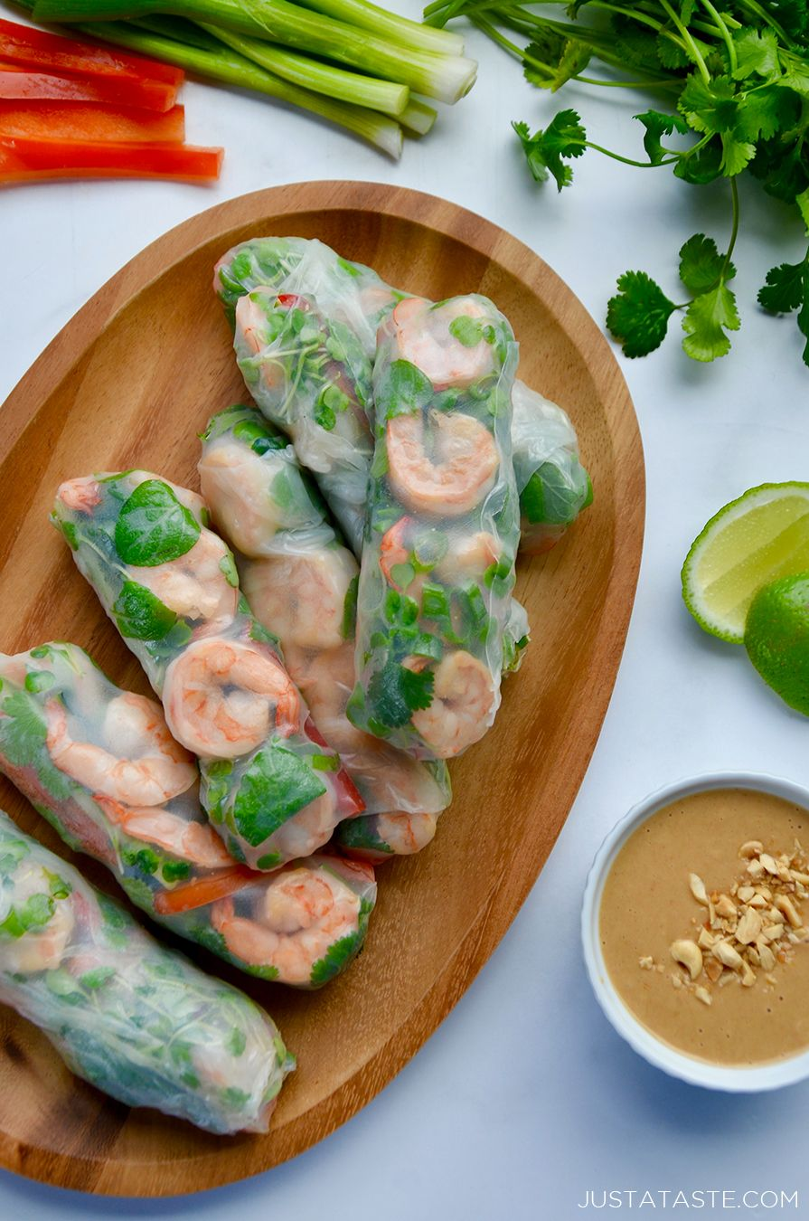 Thai Spring Rolls with Peanut Sauce #shrimptacorecipes