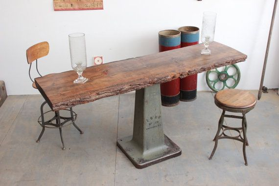 Vintage Industrial Long Antique Bar Height Counter/ Sofa/ Console Table W/  Live Edge Wood Slab, Cast Iron Base.