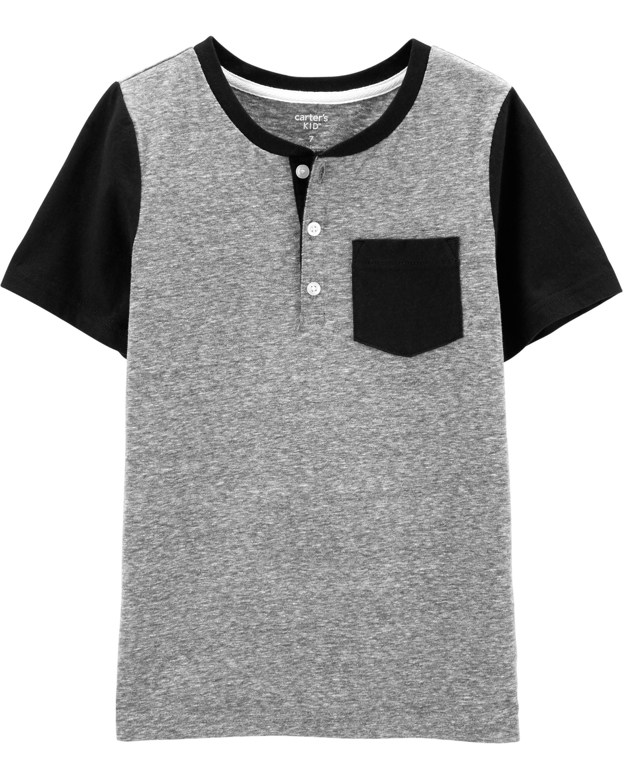 A for Awesome Boys Raglan Henley Short-Sleeve Graphic Tee