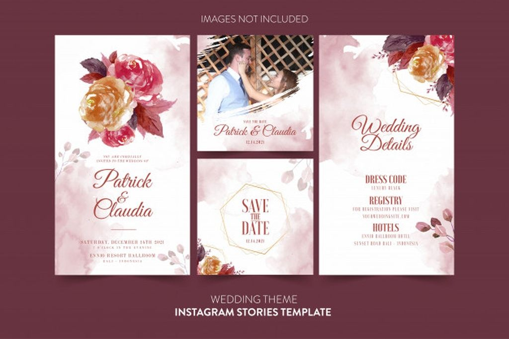 Instagram Template For Wedding Invitation Card With Watercolor Flower And Leaves P Wedding Invitation Cards Floral Wedding Invitation Card Wedding Invitations