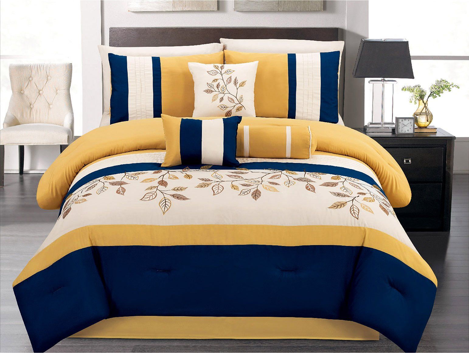 7 Pieces Luxury Navy Blue Yellow Off White Embroidered Comforter