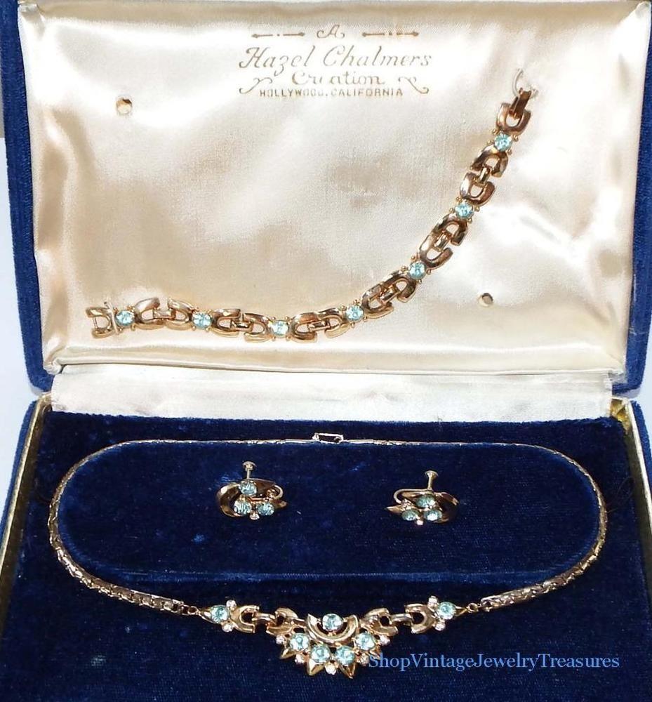 Vintage hazel chalmers blue rhinestone necklace bracelet earrings