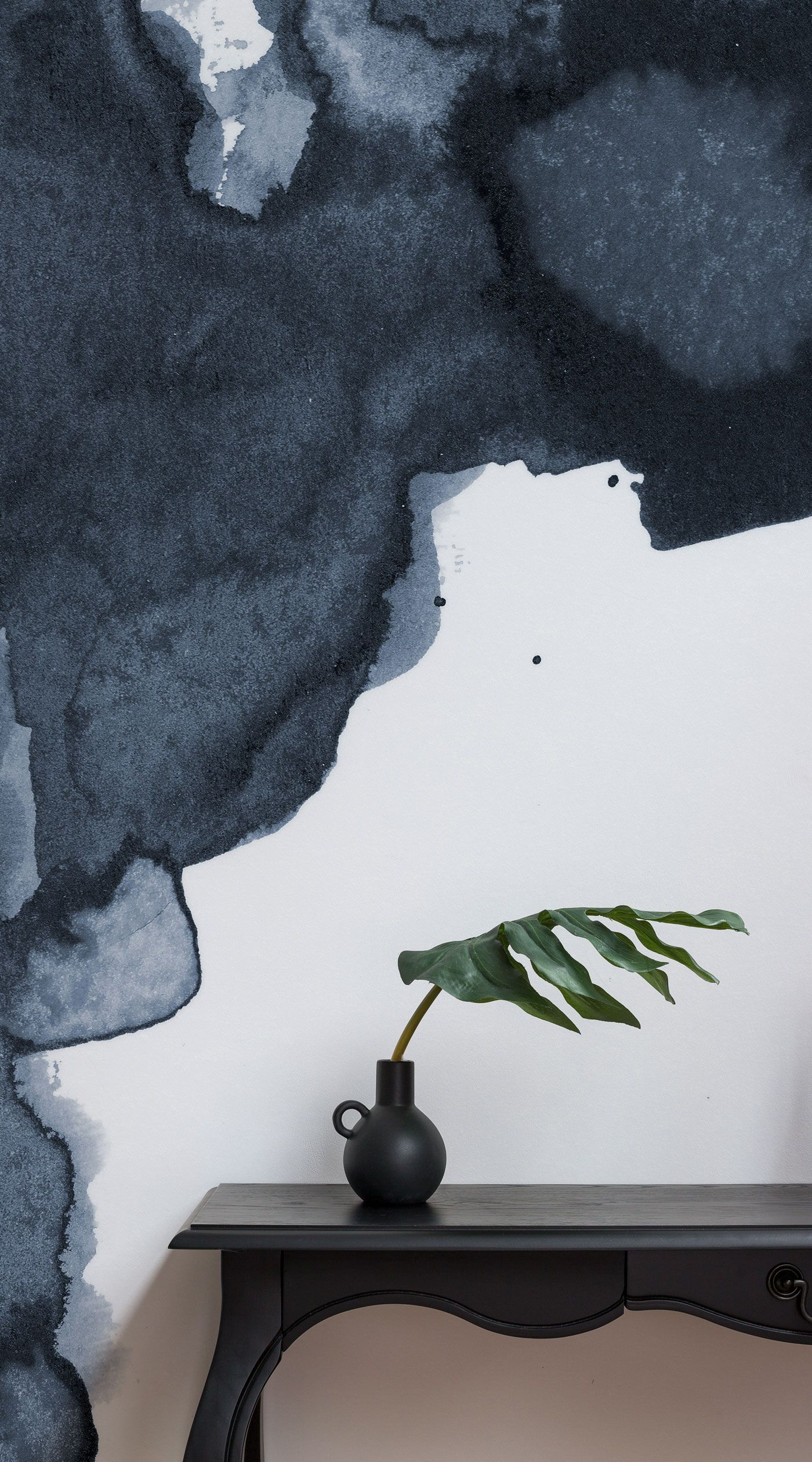 Navy hallway ideas  Navy Watercolor Wallpaper  Blue Smoke Design  MuralsWallpaper
