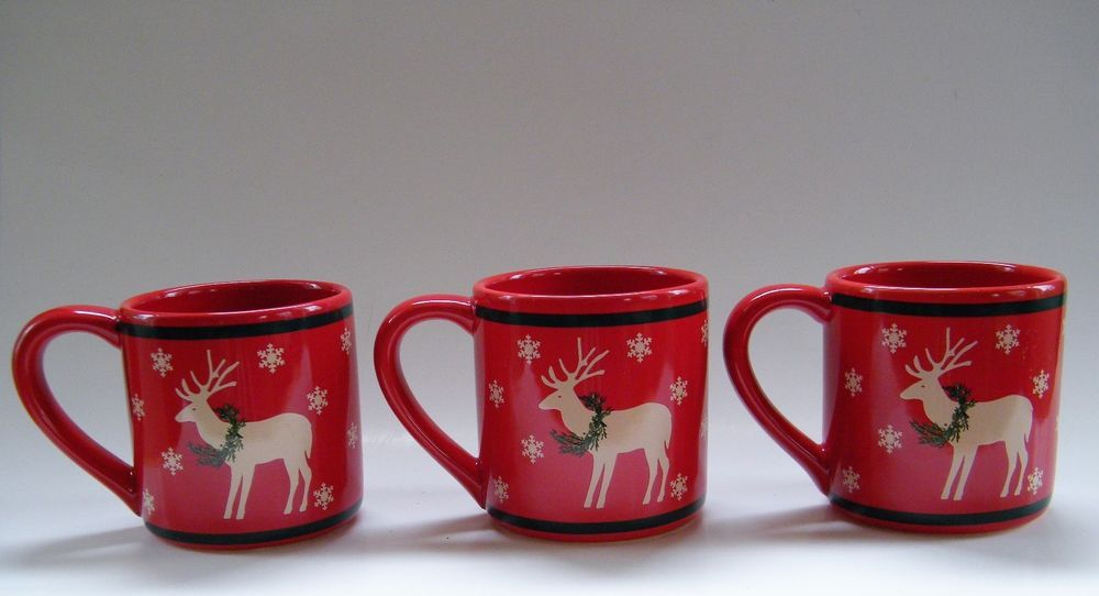Three Festive Coffee Mugs To Decorate Your Christmas Table Bottom Of Mug Made Exclusively For L L Bean By Clay Design In Christmas Mugs Mugs Caribou Coffee
