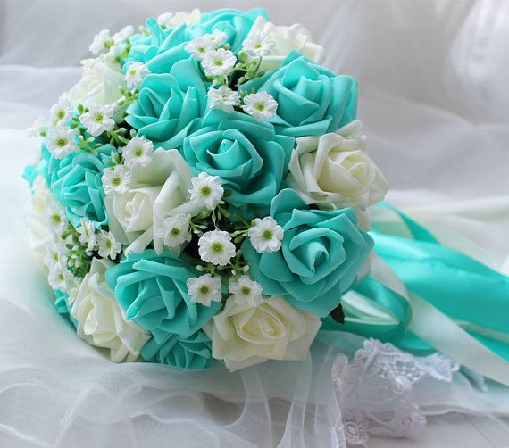 Turquoise Wedding Bouquet  Turquoise Flowers Bridal Bouquet  White     Turquoise Green White Wedding Bouquet  Turquoise Flowers Bridal Bouquet   Wedding Centerpieces  Decorations Silk Ribbon Fake Flower Bouquets