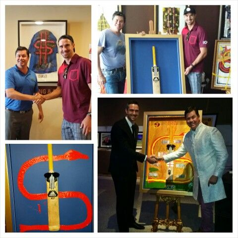The evolution of the @kp24 original '#24 ' Great to have the honour to get to know the legend over golf and Art then run through the inspiration at the gala dinner! Bringing the green grass of a new cricket academy to Dubai  let the partnership commence! Enjoying hosting cricket legend  @kp24 pictured here with the original mounted cricket bat celebrating his life to date.  Bank notes are currency from test 100s and powerful gems to be confirmed #golf #dollarsandart #value #collaboration ##24 #art  #golf #art #MyDubai #cricket #kp24 #superman #heroes #legend #auction