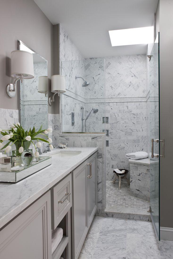 master bath, gray, carrara marble, herringbone tile   Roxanne ...