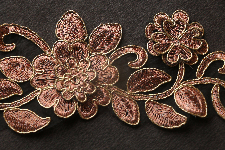 Gold Flower Decorate Craft Lace Trim 1 Yard 6.5 Cm wide Fancy Sequins Silver