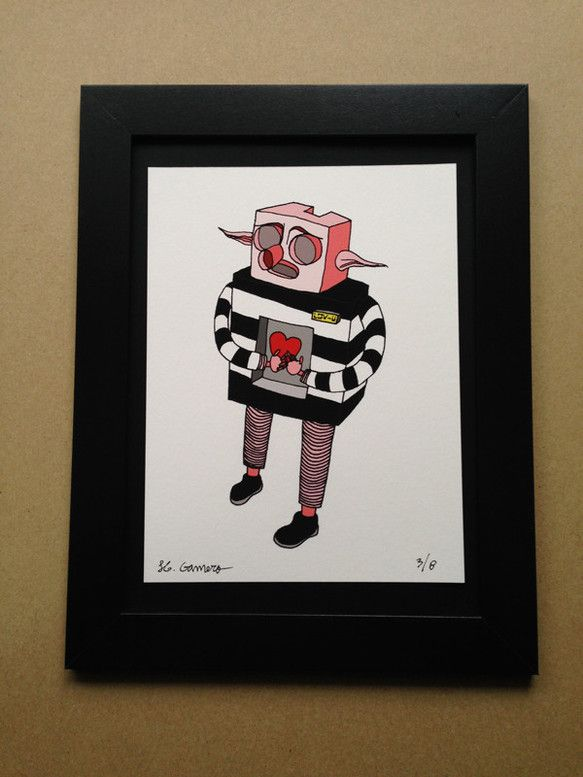 "Roboredneck: LOV-U ロボ田舎者:ラブ·ユー""ロボ田舎者""シリーズから。ジークレー版画 (Gicl&eacu...|ハンドメイド、手作り、手仕事品の通販・販売・購入ならCreema。"