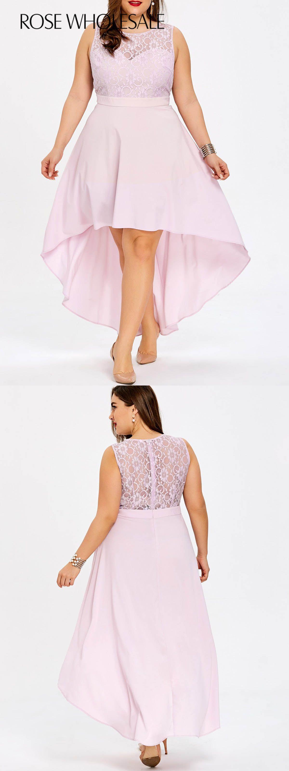 14 71 Plus Size Sleeveless High Low Hem Bridesmaid Dress Light Pink 3xl Rosewholesale Curvy Bridesmaid Dresses Trendy Dresses Summer Summer Dress Outfits [ 3192 x 1200 Pixel ]