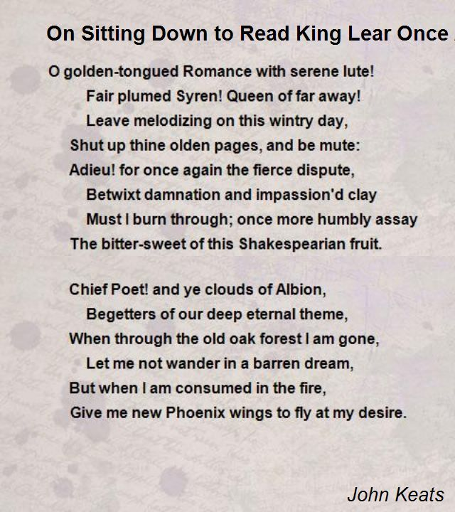 on sitting down to read king lear once again