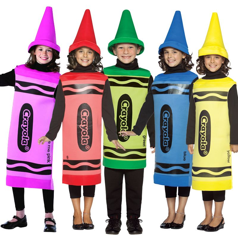 Kids Crayola Fancy Dress Costume Crayons Book Week Hat Outfit New ...