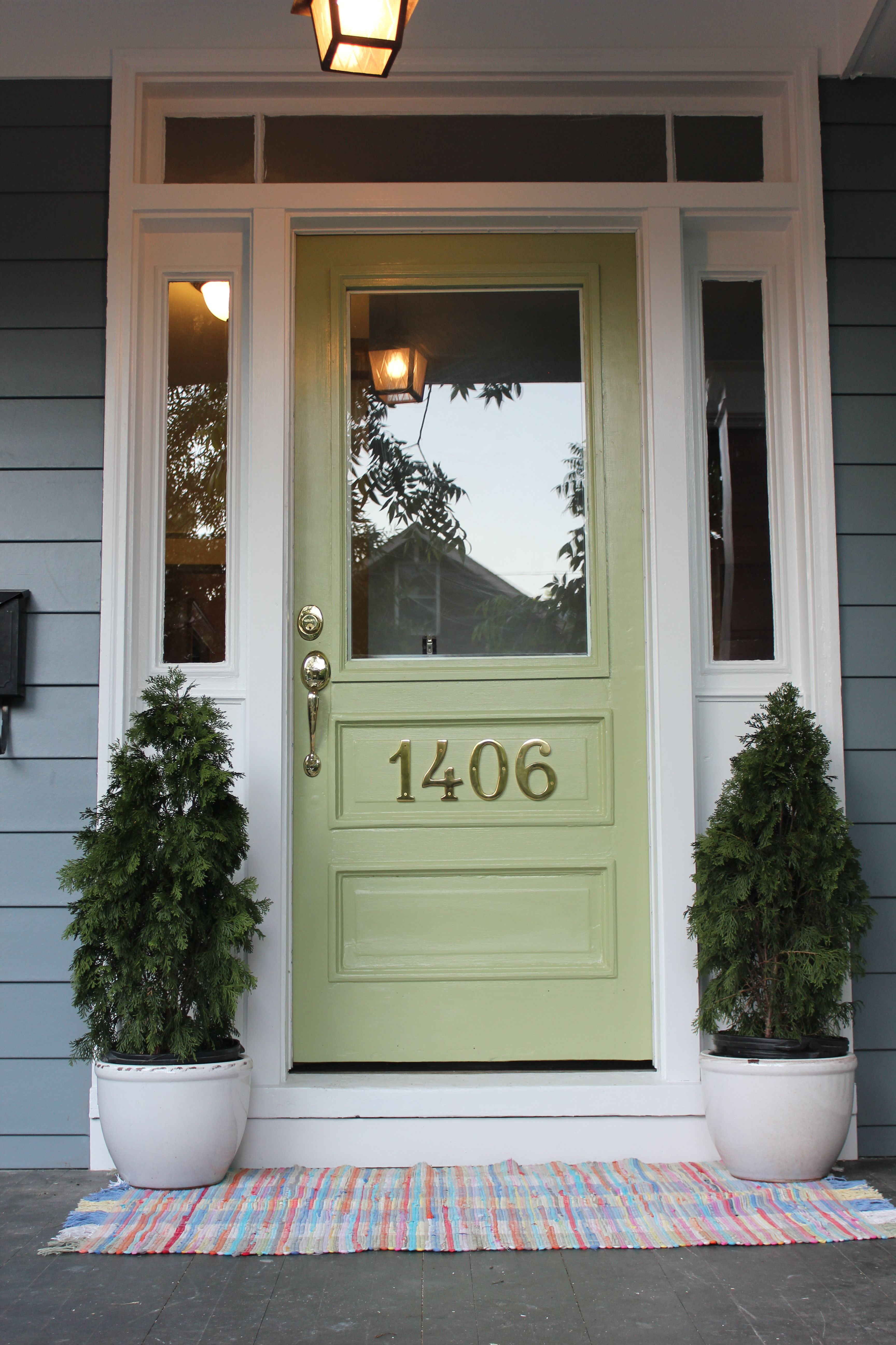 Boothbay blue hardie plank siding and great green front door by sherwin williams