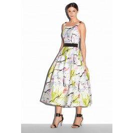 MILLY -  SCRIBBLE PRINT SERENA TEA LENGTH DRESS