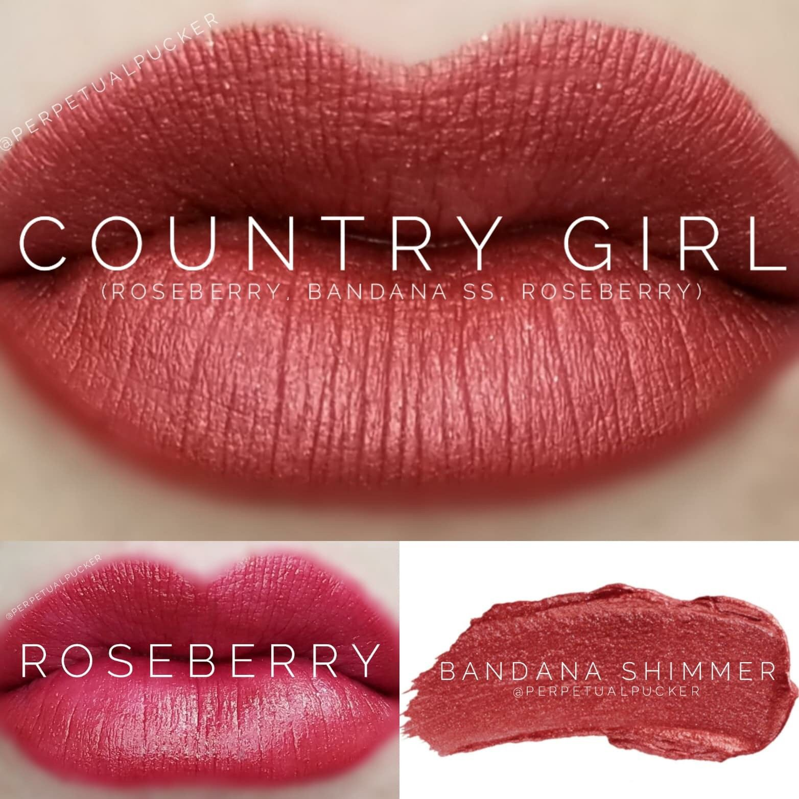 This gorgeous combo features the limited edition Bandana Shimmer ShadowSense layered between Roseberry LipSense