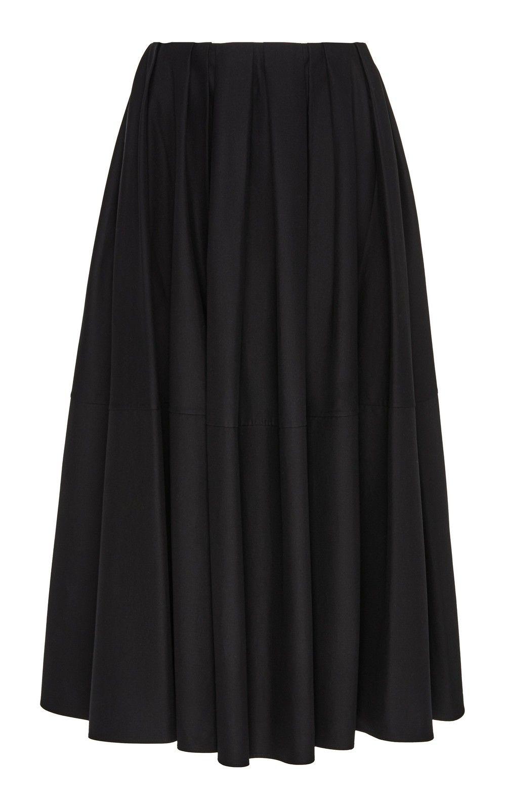 Belted Pleated Cotton Gabardine Midi Skirt By Martin Grant Moda Operandi In 2020 Jacquard Midi Skirt Cotton Skirt Midi Skirt
